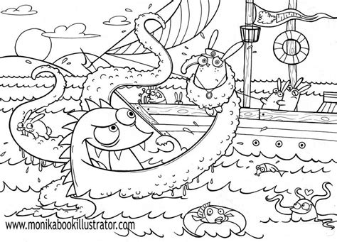 Sea Monsters Coloring Pages Coloring Home