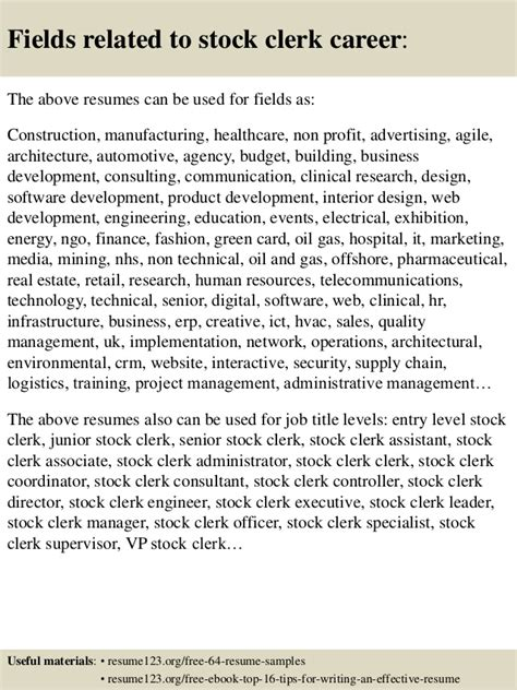 top 8 stock clerk resume sles