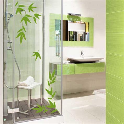 bathroom theme ideas sticker feuille de bambou pour salle de bain en vente