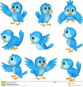 Bird Singing Cartoon Cute Blue Birds - Litle Pups