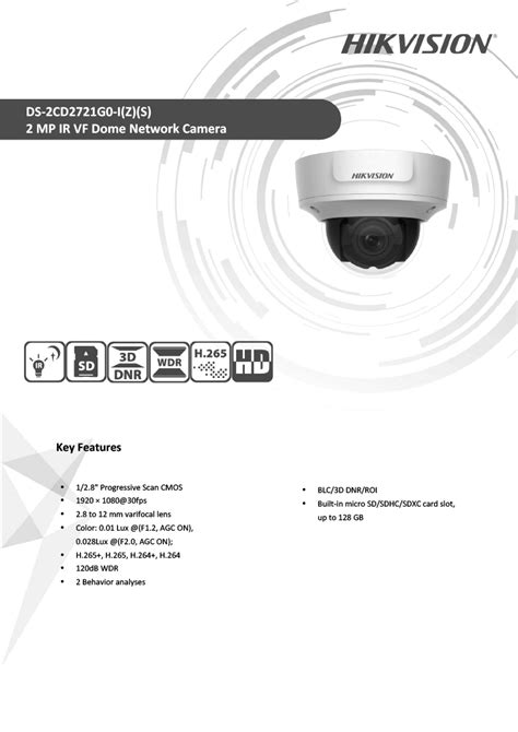 Hikvision DS-2CD2721G0-I(Z)(S) 2MP IR VF Dome Network Camera