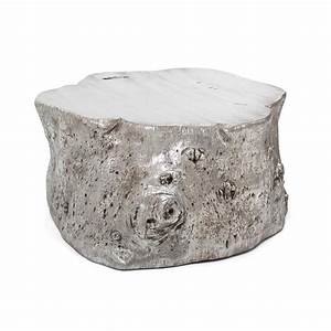 origin round silver tree trunk coffee table With silver tree trunk coffee table