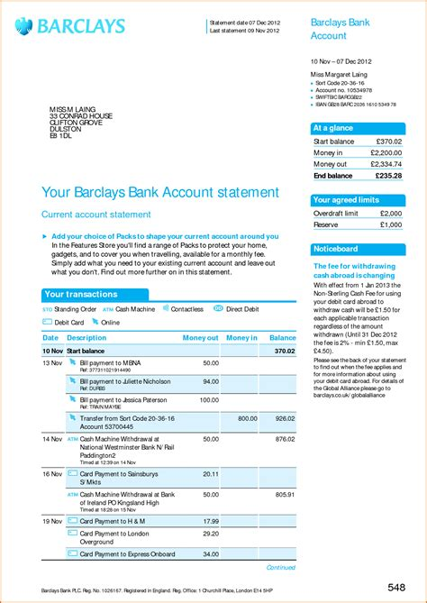 bank statement template 8 bank statement template authorizationletters org