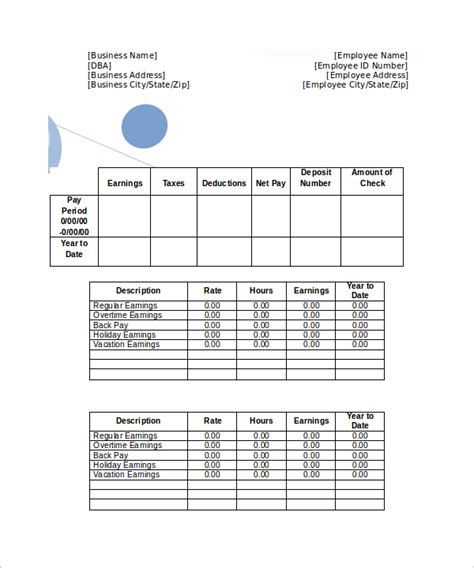 blank pay stubs template 25 sle editable pay stub templates to sle templates