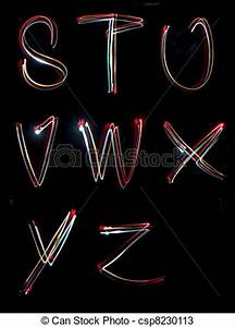 Stock s of alphabet light neon writing long exposure