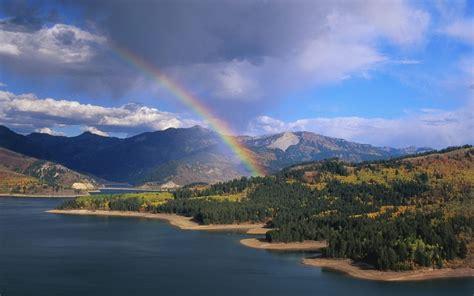 water mountain landscape  rainbow idaho lakes hd