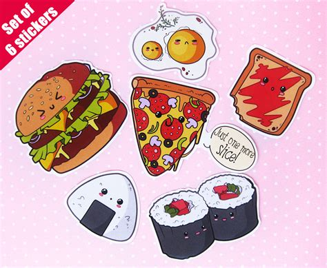 cuisine stickers food stickers kawaii laptop stickers vinyl waterproof
