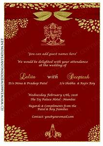 Luxurious style wedding card design gold colored fonts for Online indian e wedding invitations