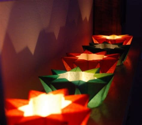 teelichthalter selber basteln weihnachten origami falten und damit zu weihnachten dekorieren