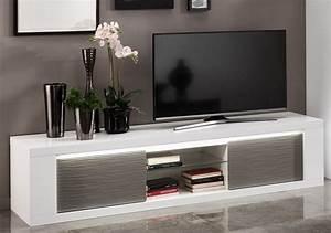 Meuble Blanc Et Gris : meuble tv design laqu blanc gris avec clairage 195 cm ~ Dailycaller-alerts.com Idées de Décoration