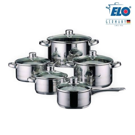 pots kitchen stainless steel pan cookware germany piece induction elo