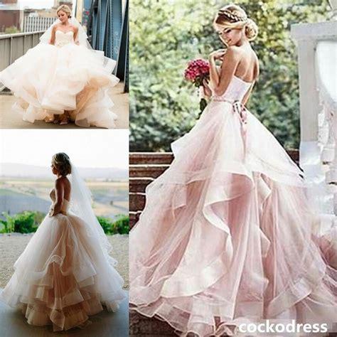 Blush Vintage Sweetheart Layered Wedding Dress Organza
