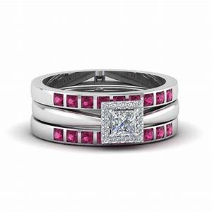 search our 14k white gold trio wedding ring sets With square wedding ring sets