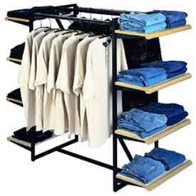 retail display fixtures racks merchandisers double hangrail frame    white shelves