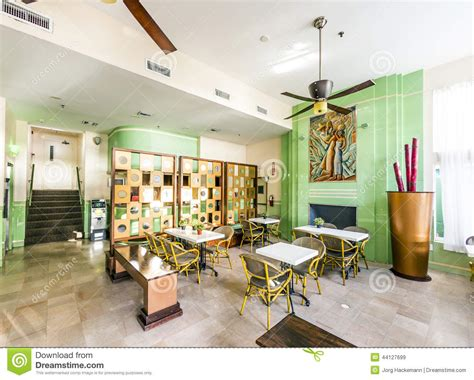 most deco designers lobby of the deco style colony hotel in miami editorial stock image image 44127699