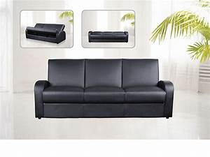 Faux leather 3 seater sofa bed black brown cream for 3 seater sectional sofa bed