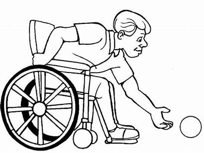 Coloring Wheelchair Disability Catch Ball Pages Drawing