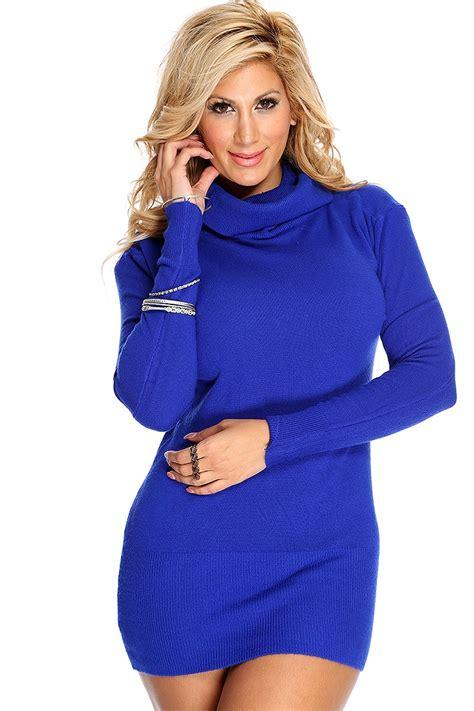 Royal Blue Cowl Neck Long Sleeves Sweater Dress