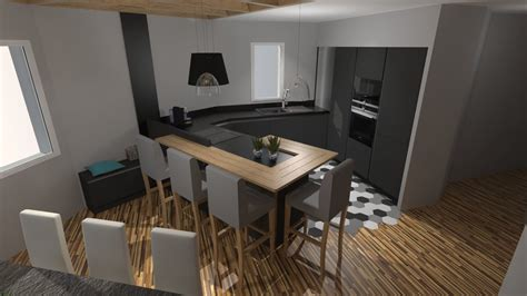 cuisine moderne cuisine moderne gris anthracite mat et bois massif