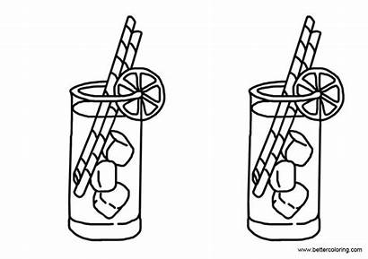 Lemonade Coloring Pages Drawing Eeasy Printable Adults
