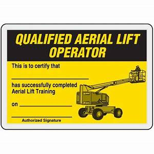 Qualified aerial lift operator card ehs templates pinterest for Aerial lift certification card