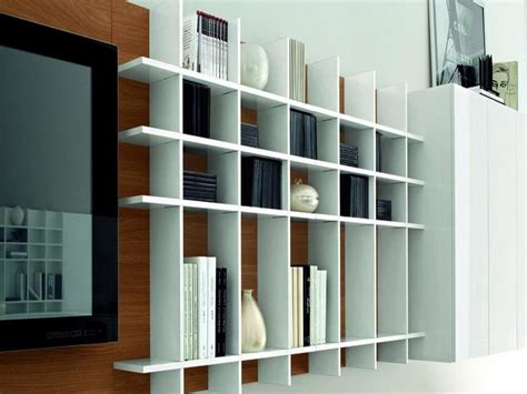 Europe White Wall Mounted Bookcase Design
