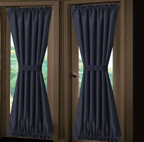 solid navy blue door curtain panels lined or unlined