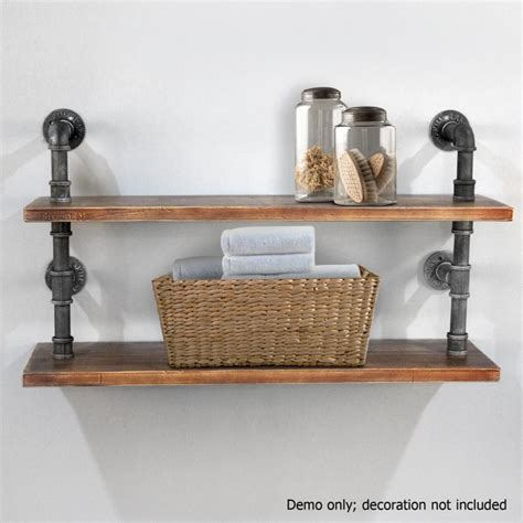 2 Rustic Industrial Pipe & Timber Wall Shelves 92cm   Buy Wall Shelves