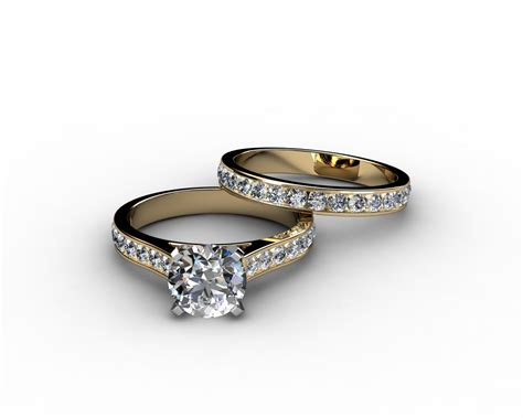 channel set cathedral diamond engagement ring wedding
