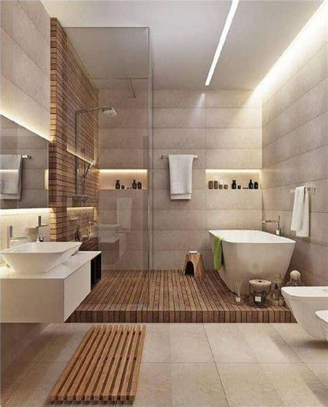 love  open shower  tub   raised wood platform