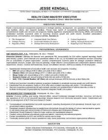 executive recruiter resume objective resume sles for healthcare professionals recentresumes