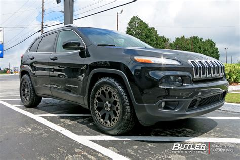 jeep cherokee trailhawk black rims jeep cherokee with 18in black rhino warlord wheels