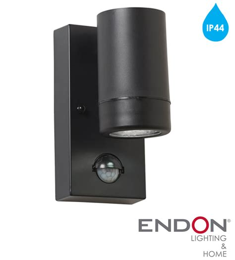endon icarus pir 1 light outdoor wall light black