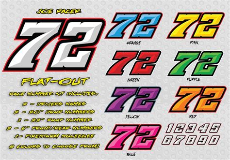 flat  race car number decal kit racing graphics lettering
