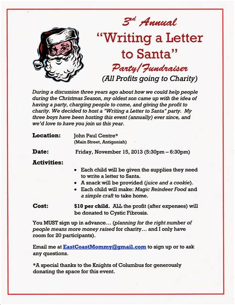 east coast mommy writing  letter  santa party