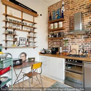 Küchen Vintage Style : backsteinwand in der k che industriell w nde und industrie stil inneneinrichtung ~ Sanjose-hotels-ca.com Haus und Dekorationen
