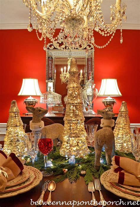 christmas table setting tablescape  mercury glass