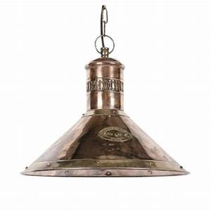 Nautical ships deck lamp in copper with brass detailing