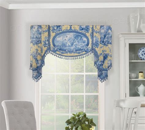White And Blue Window Valances by Board Mounted Flat Swag Valance With Handkerchief Jabots