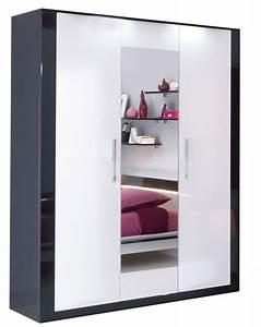 Armoire Noir Et Blanc : armoire 4 portes avec miroir scoop blanc et noir anniversaire 40 ans acheter ce produit au ~ Preciouscoupons.com Idées de Décoration