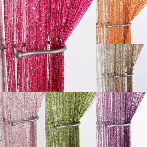 glitter string curtain panels fly screen room divider