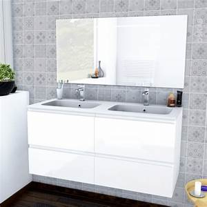 ensemble salle de bains meuble ipoma blanc brillant plan With meuble salle de bain double vasque avec miroir
