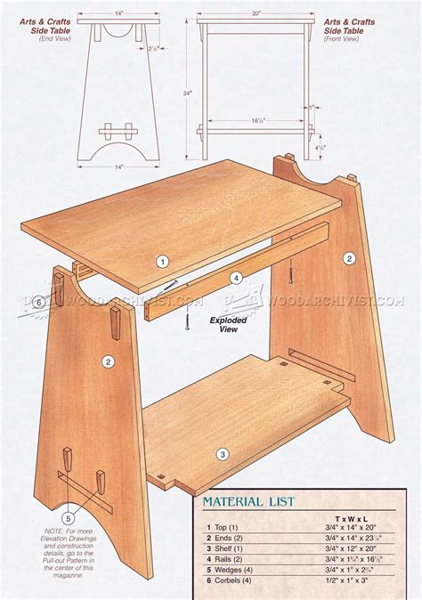 art  crafts style side table plans woodarchivist