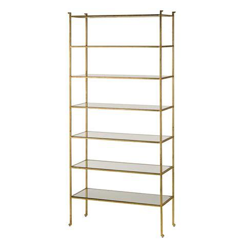 Classic Hollywood Regency Gold Leaf Tall Etagere Display Shelf