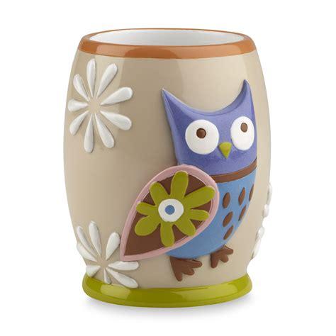owl bathroom set kmart essential home owl bathroom tumbler