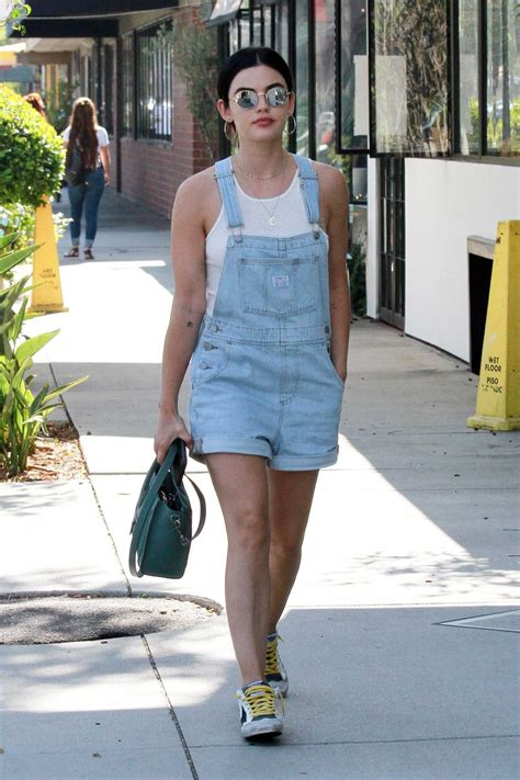 Lucy Hale in a Blue Denim Jumpsuit Was Seen Out in Los ...