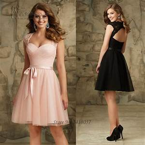 pink black short cheap bridesmaid dresses 2016 lace party With short dress for wedding party