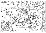 Coloring Picnic Pages Summer sketch template