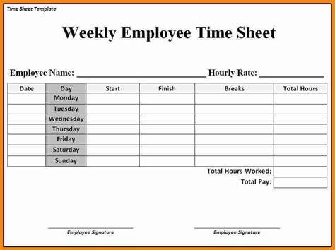 printable weekly timesheet template ledger