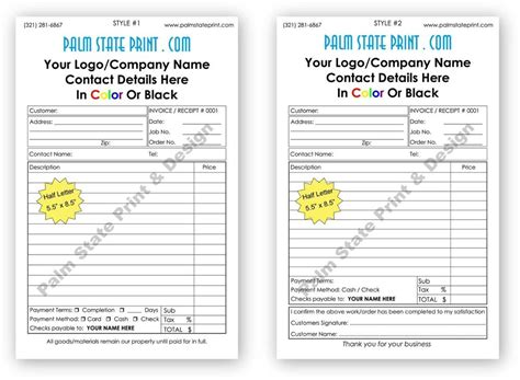 part personalized duplicate carbonless invoice sales